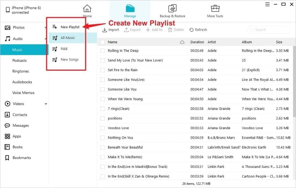 Create Locate Music Playlist iPhone