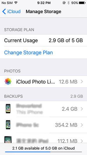 iCloud بیک اپ۔
