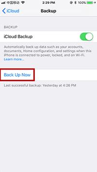 Configuració de còpia de seguretat de iCloud Ara