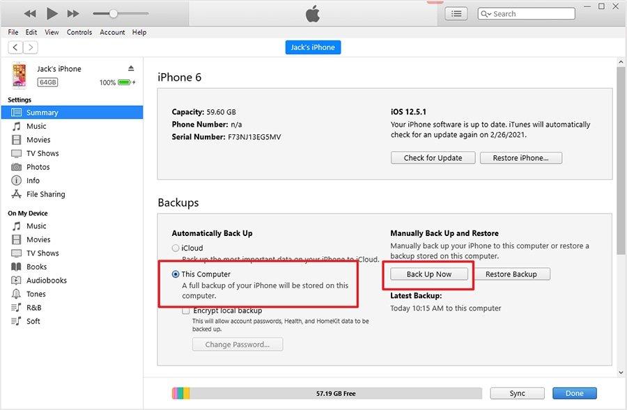 Резервное копирование фотографий с iPhone на ПК через iTunes