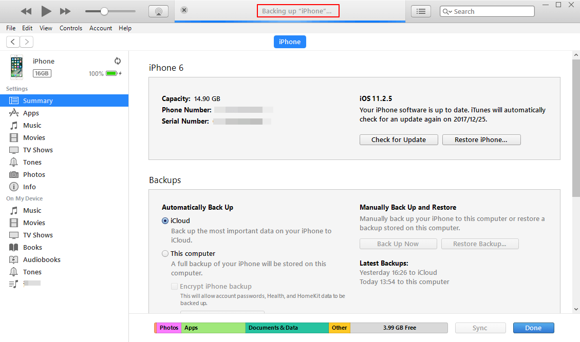 iTunes Mencadangkan iPhone