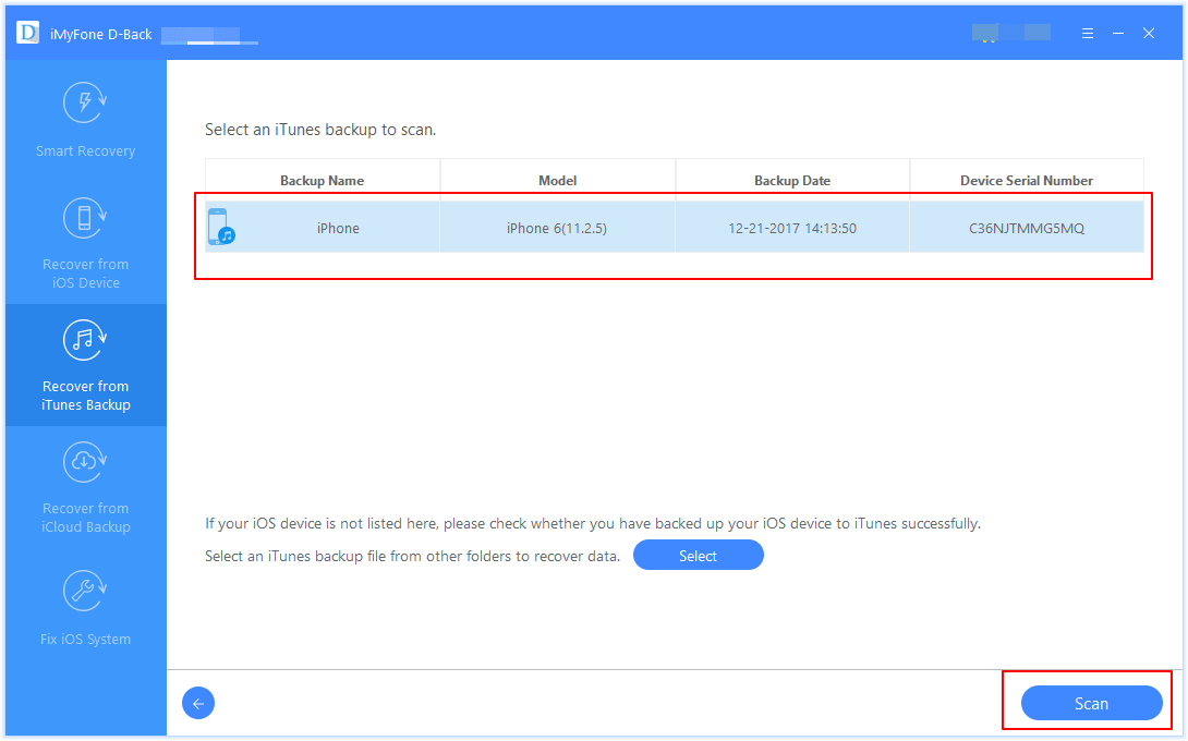 Recover from iTunes Backup Select iTunes Backup