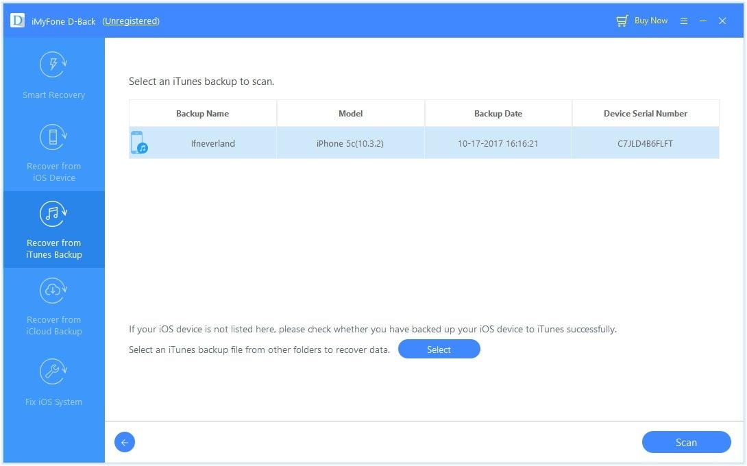 आईट्यून्स बैकअप स्कैन लाइन संदेश का चयन करें