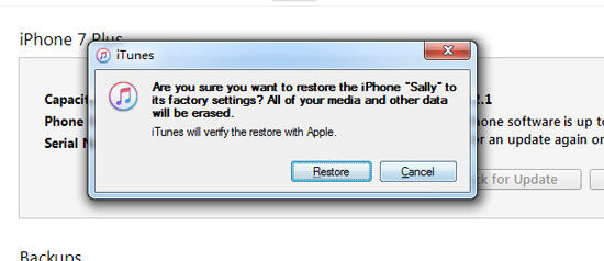 iTunes Verify iPhone wiederherstellen