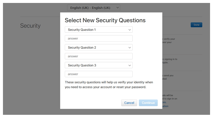 Apple Site Select New Security Questions