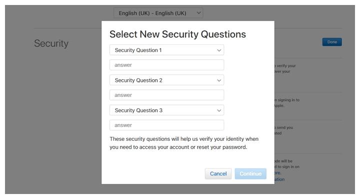 Apple साइट नए सुरक्षा प्रश्नों का चयन करें