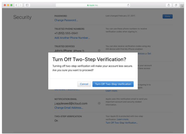 Apple Site Turn Off Two-Step Verification