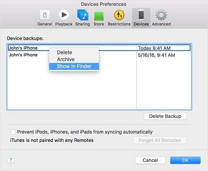 Find iTunes Backup File Location on Mac