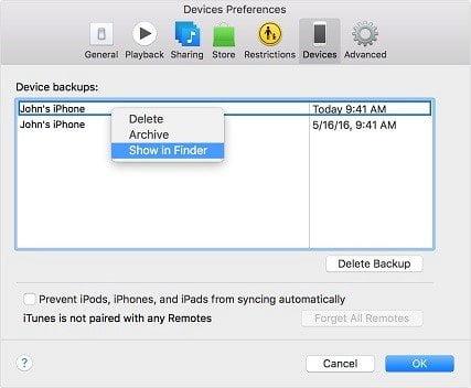 Mac'te iTunes Backup File Location'u bulun