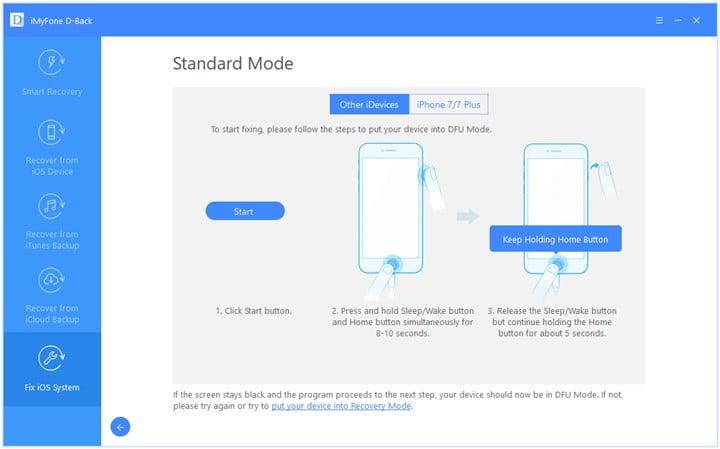 fix frozen iphone standard mode