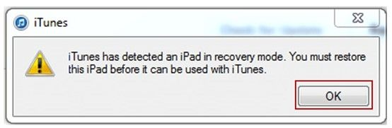 iTunes Alert Box iPad in Recovery Mode
