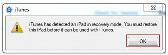 Kurtarma Modunda iTunes Alert Box iPad