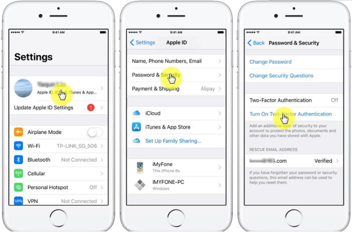 IPhone पर दो-कारक प्रमाणीकरण चालू करें