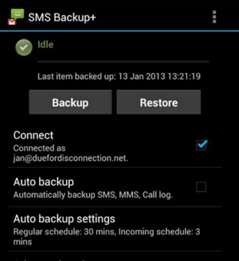 Tap Backup Button on SMS Backup+