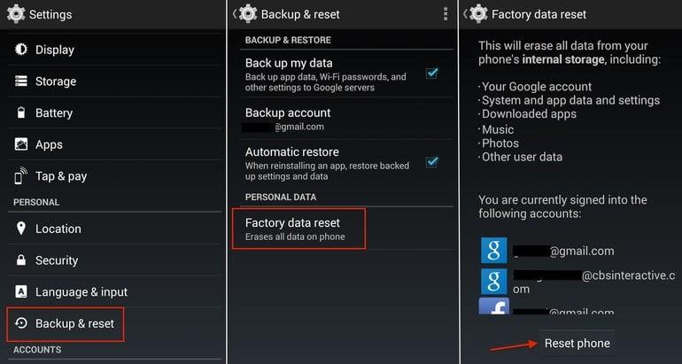Factory Reset LG Phone