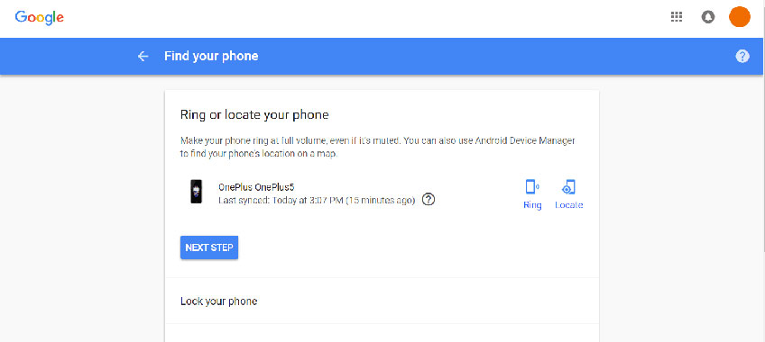 Find My Phone - Google Account