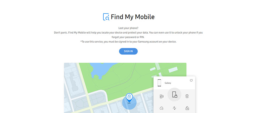 Find My Mobile - Samsung Account