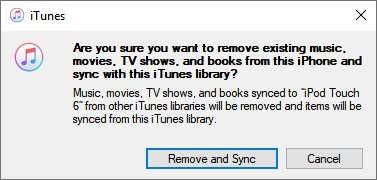 iTunes Remove Sync iPhone Library