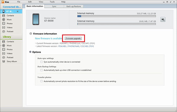 upgrade the firmware of Samsung Device with Samsung Kies