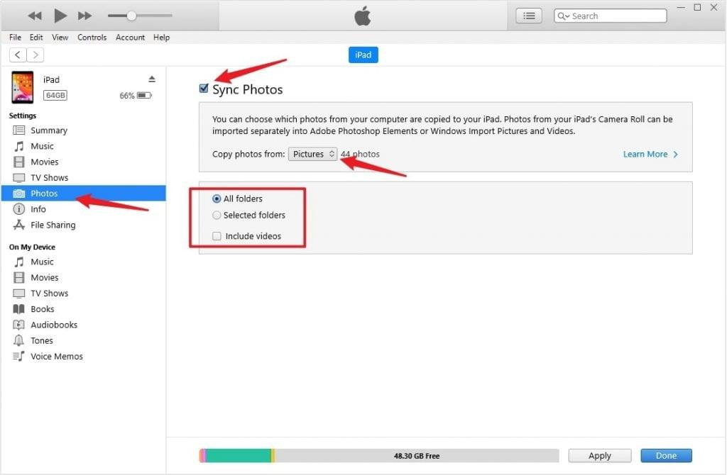 iTunes Export Photos from iPad to Computer Setup