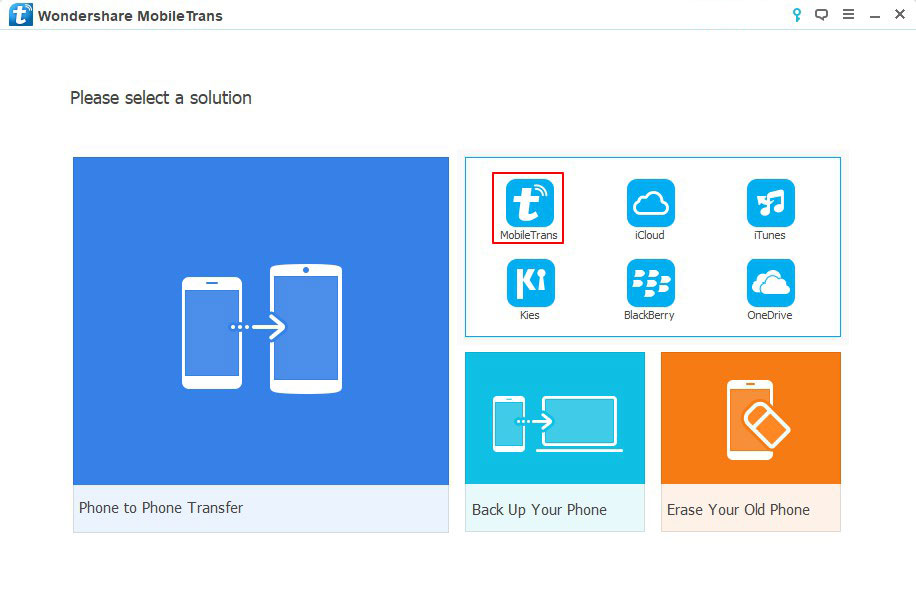 Restore from Backups - Select MobileTrans