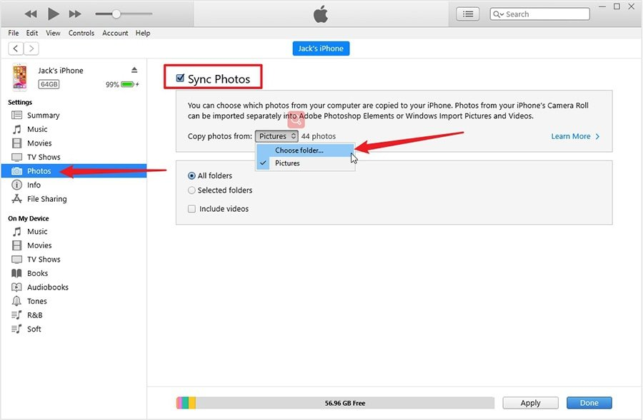 Transfer Laptop Photos to iPhone via iTunes