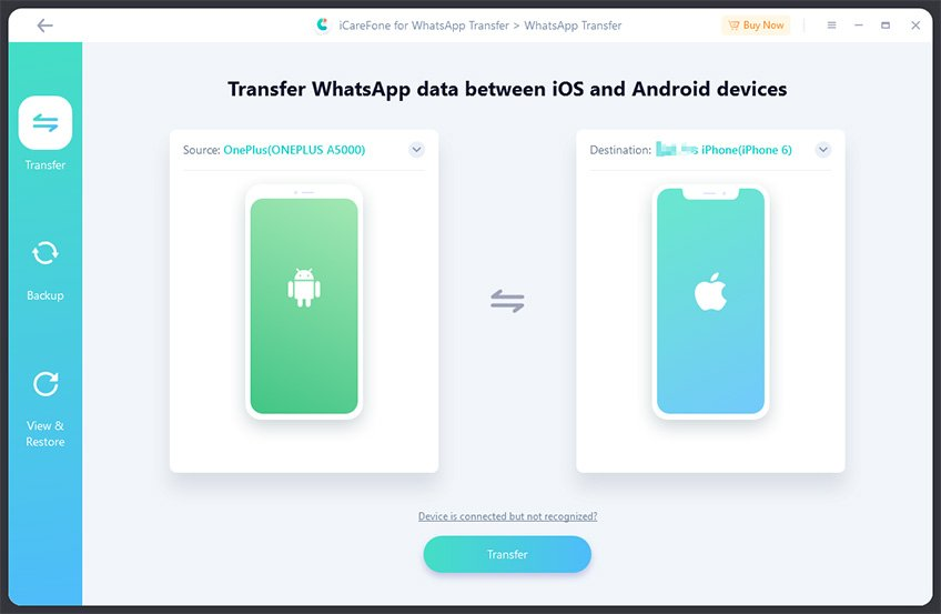 icarefone transfer whatsapp data from android to iso