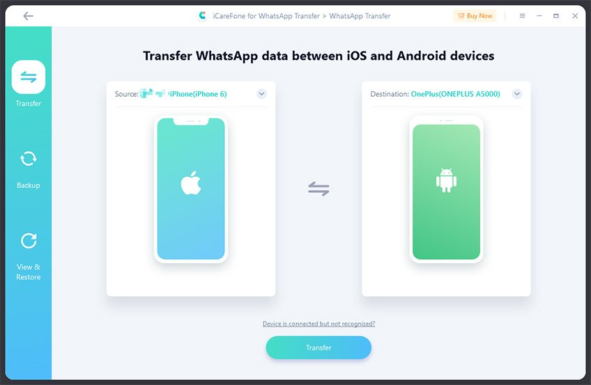 icarefone transfer whatsapp data from iso to android