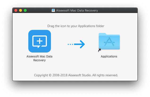 Install Aiseesoft Mac Data Recovery - Drag icon to Application folder