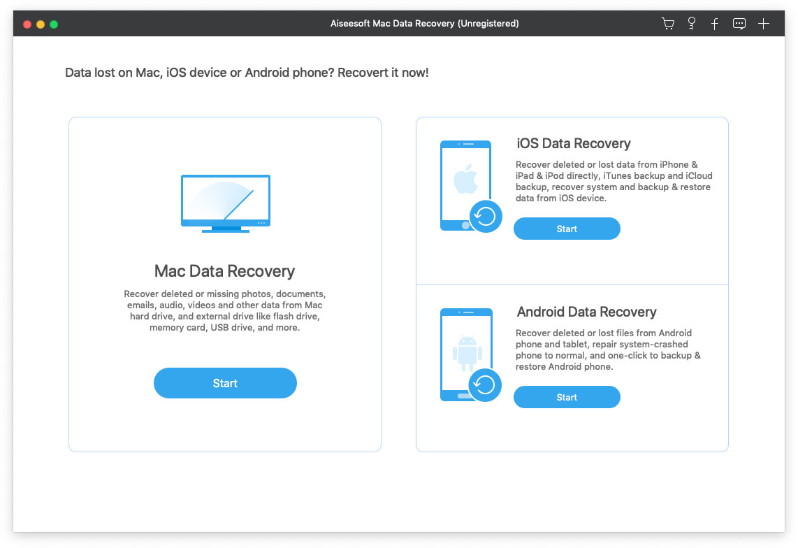 Interface of Aiseesoft Mac Data Recovery