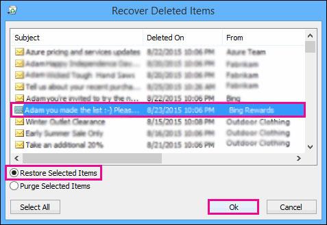 recover deleted items