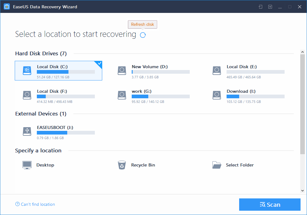 easeus recover email step 1