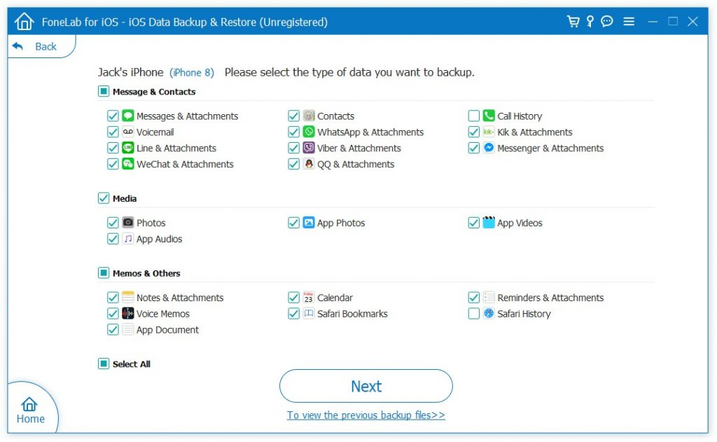 FoneLab iPhone Data Backup Select Categories