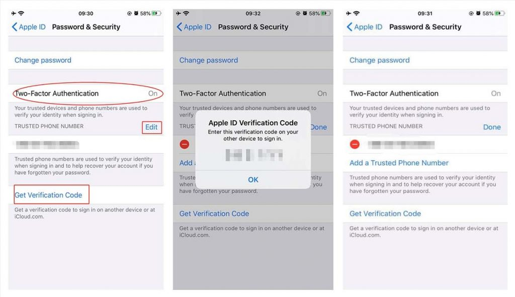 iPhone 2 Factor Authentication Get Verification Code Edit Trusted Number