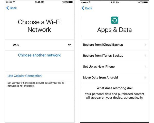 Активация iPhone Выберите данные восстановления WiFi