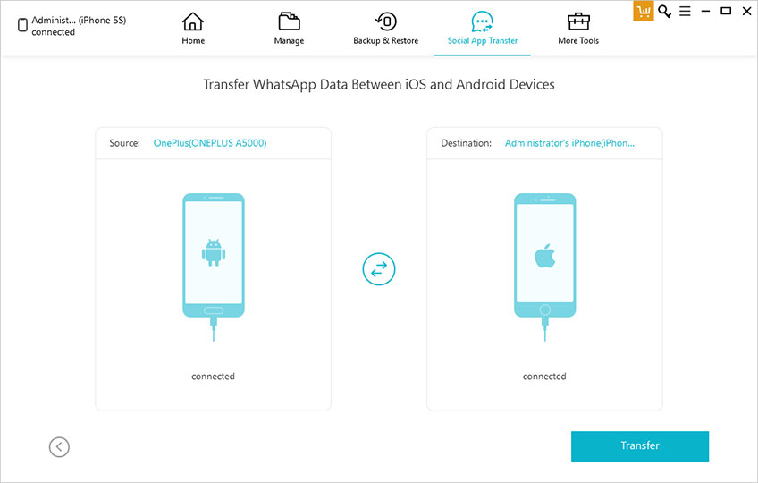 transfer WhatsApp data between iOS and Android Devices