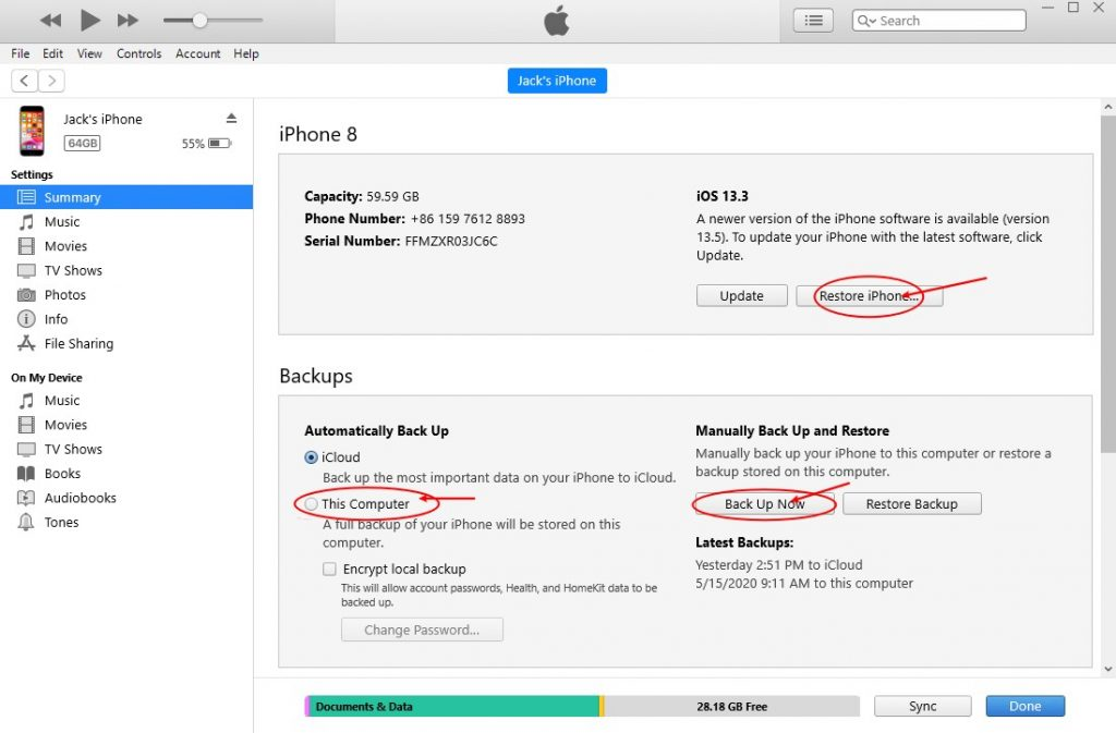 Win iTunes iPhone Backup And Restore