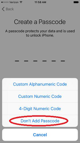 Don't Add Passcode On iPhone
