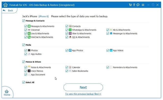 FoneLab iPhone Data Backup Select Categories