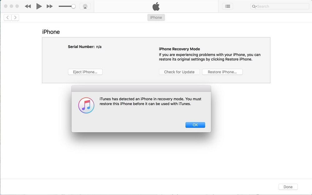 iPhone DFU rejimi iTunes