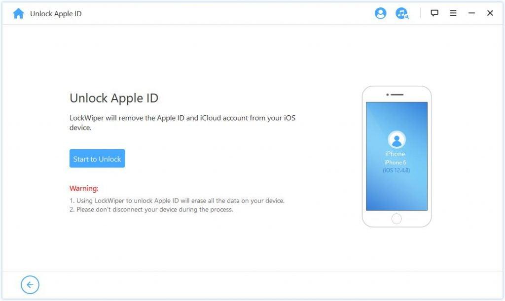 LockWiper Start to Unlock Apple ID