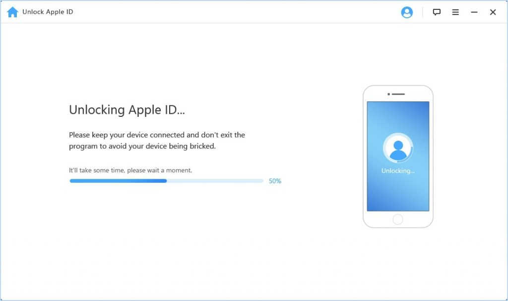 LockWiper Unlocking Apple ID