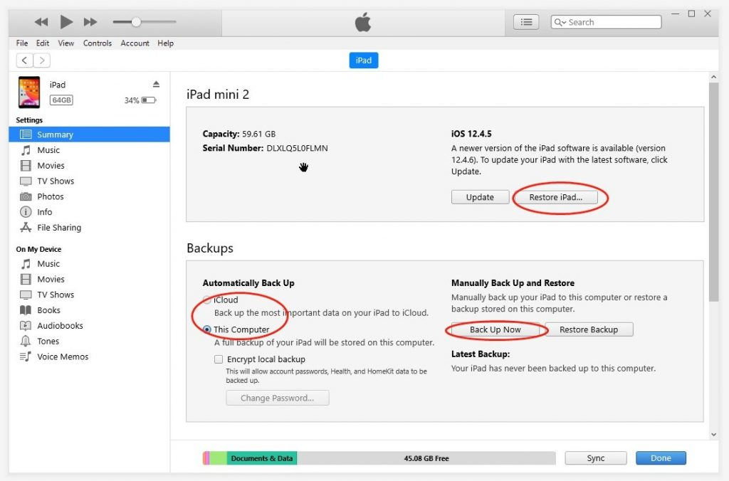 Win iTunes iPad Backup Restore