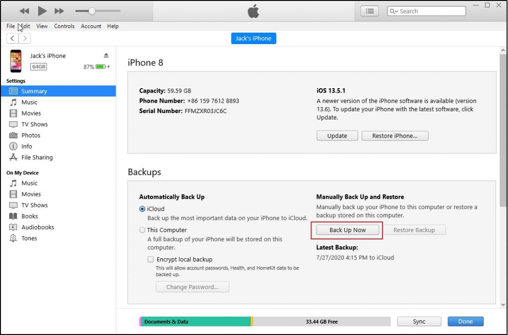 iTunes iPhone Backup Now