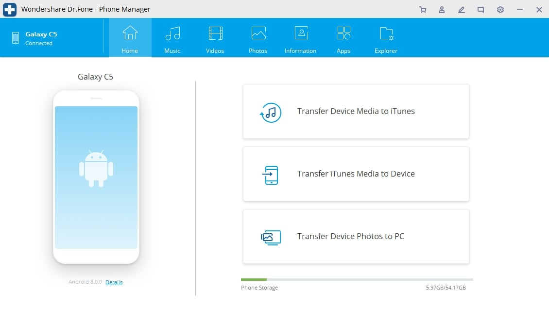 Android Transfer Choose Data Category